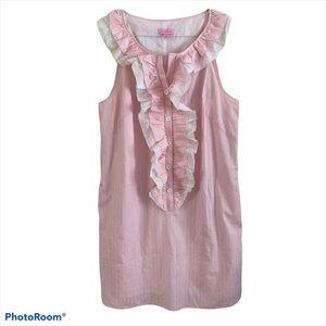 Lilly Pulitzer Shift Dress Stripe Ruffle Pink NWT